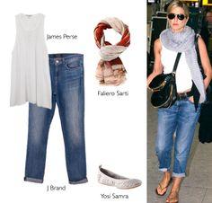 Airport style // Jennifer Aniston - James Perse + J Brand + Faliero Sarti + Yosi Samra http://www.farfetch.com/es/shopping/arropame/women/items.aspx#ps=1&pv=60&oby=5&lsf=1