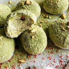Traditional Powdered Sugar Greek Butter Cookies Made Modern with Matcha Green Tea.