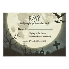 RSVP Halloween wedding with full moon and cemetery Card