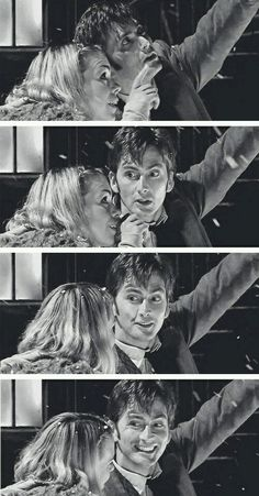 "This scene with Ten and Rose. Because he points out a star, and she says ""that way."" And he just looks at her, gazing up, realizing how happy he his. How happy he is to be with her. Doctor Who, 10th Doctor, The Way He Looks, That Way, David Tennant, Sherlock, Rose And The Doctor, Billie Piper, Don't Blink"