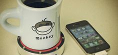 Coaster charges phones using energy from hot or cold drinks