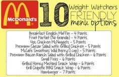 10 Weight Watchers Friendly McDonald's Fast Food Items – 7 Points or Less!