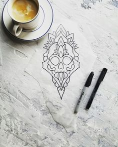 skull mandala tattoo flash design by nico di pisarro