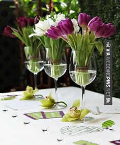 Sweet - Table decorations with glasses and flowers | Photo | CHECK OUT SOME AMAZING PICS OF NEW Centros de Mesa Para Boda HERE AT WEDDINGPINS.NET | #CentrosdeMesaParaBoda #CentrosdeMesa #boda #weddings #centerpieces #weddingcenterpiece #vows #tradition #nontraditional #events #forweddings #iloveweddings #romance #beauty #planners #fashion #weddingphotos #weddingpictures