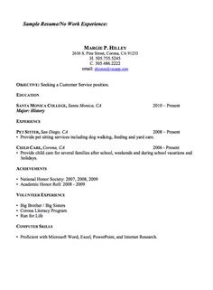 Resumes With No Work Experience College Resumes Samples  Template  Pinterest