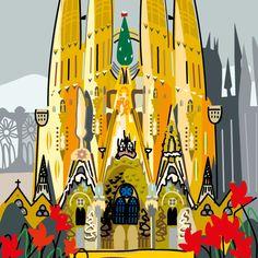Gaudí, dibujos de Montse Noguera Antoni Gaudi, Painter Artist, Beautiful Posters, Urban Sketchers, Vintage Posters, Illustrators, My Arts, Canvas, Artwork
