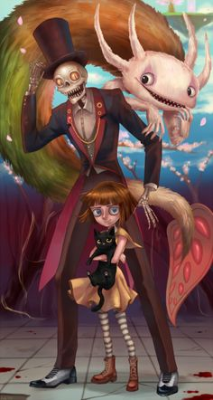 Beautiful fan-art of Fran Bow, Itward, Palontras, and Mr. Fan Art, Bow Games, Creepy Games, Character Art, Character Design, Little Misfortune, Rpg Horror Games, Arte Horror, Animation