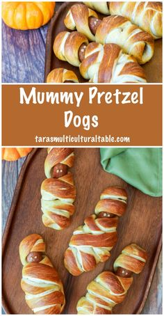 Recipe for Mummy Pretzel Dogs for Halloween- hot dogs wrapped in pretzel dough to look like mummies, boiled, then baked until golden. Halloween Sweets, Halloween Appetizers, Halloween Ideas, Happy Halloween, Halloween Party, Make Ahead Appetizers, Appetizer Recipes, Snack Recipes, Snacks