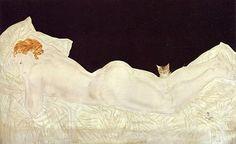 藤田嗣治「横たわる裸婦と猫」 油彩・キャンバス 1931年