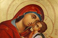 Theotokos Glykophilousa Hand-Painted Icon - BlessedMart