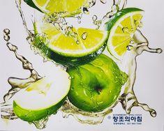 #정밀묘사#사실화#사과#물#청귤#오렌지#수채화#의정부창조의아침미술학원#기초디자인#개체묘사 Fruits Drawing, Poster Colour, Watercolor Paintings, Abstract Art, Digital Art, Lime, Doodles, Canvas, Drawings