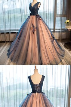 Long Prom Dresses, Pretty tulle v-neck applique A-line long evening dresses ,ball gown prom dress #longpromdresses #eveningdresses #promdresses prettypromdresses