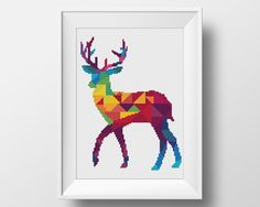 Deer Cross Stitch Pattern, Geometric Animal Xstitch, Embroidery Instant…