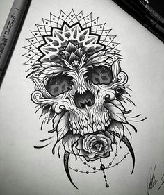 Afbeeldingsresultaat voor skull mandala drawing
