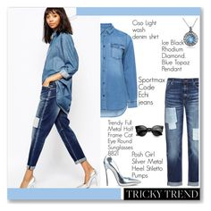 """""""Tricky trend:patchwork denim"""" by sana-loves-1d ❤ liked on Polyvore featuring Ciso, Sportmax, Posh Girl and Ice"""