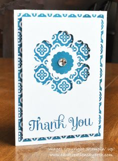 Beth created a trio of notecard-sized thank you cards using Four You, Quatrefancy dsp, and the Blossom Punch.