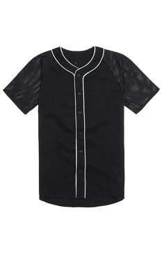 PacSun presents the On The Byas Baseball Jersey for men. This solid men's jersey comes with an On The Byas patch sewn on the bottom and mesh sleeves.	Black baseball jersey	On The Byas patch sewn on bottom	Button front	Short sleeves	Machine washable	100% cotton	Imported