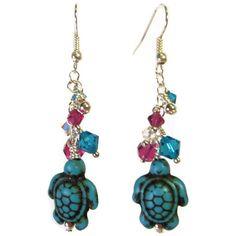 Turquoise Turtle Dangle Earrings  Swavorski Crystal by EBLDesigns, $20.00
