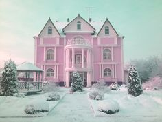 Pink mansion in snow - yes please!