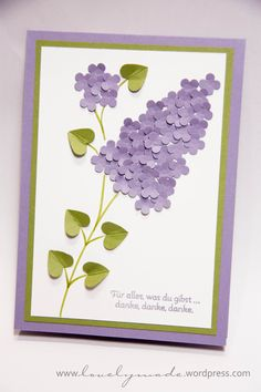 Mother 's Day or Lilac Lilac Pop Up Cards, Cute Cards, Diy Cards, Diy Arts And Crafts, Handmade Crafts, Paper Crafts, Flower Cards, Paper Flowers, Teachers Day Card