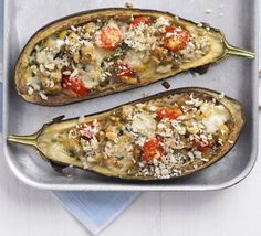 Italian-style stuffed aubergines- so easy and taste amazing!- I used cheddar instead of mozzarella and it worked just fine! Vegan Recipes Videos, Bbc Good Food Recipes, Oven Recipes, Vegan Recipes Easy, Italian Recipes, Vegetarian Recipes, Cooking Recipes, Yummy Food, Delicious Recipes