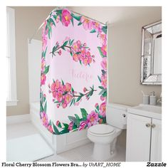 Floral Cherry Blossom Flowers Branch Pink Monogram Shower Curtain #iphone #samsung #cherryblossoms #sakura #asia #asian #flower #floral #shopping #spring #pretty #girly #shopping #Zazzle