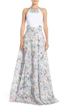 Absolutely adoring this sweet floral print ballgown trimmed in whimsical baubles.