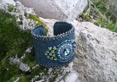 Deep forest  bead embroidered cuff  OOAK by Vicus on Etsy, $80.00