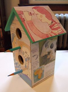 second birdhouse made (by me) with The Sky's the Limit: Stories of Discoveries by Women and Girls, written by Catherine Thimmesh and illustrated by Melissa Sweet