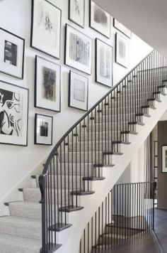 6 A Stair Hall Gallery Wall Design Ideas Stairway Decorating Design Gallery Hall Ideas stair Wall Stair Photo Walls, Stair Walls, Stairs, Gallery Wall Staircase, Staircase Wall Decor, Wood Staircase, Modern Gallery Wall, Gallery Wall Layout, Decorating Stairway Walls