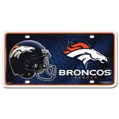 """NFL License Plate - Denver Broncos by Flagline. $7.95. 6"""" x12"""" Metal Plate. Perfect for the front of your car or truck, our decorative license plates are 6"""" x 12"""" and made from embossed aluminum.. Save 39% Off!"""