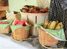 """Crab boil party setup- using apple bushel baskets. This will be perfect to """"set up food""""  Charlie wants a crab/shrimp boil...and Janie Grace wants Fried Chicken :)"""