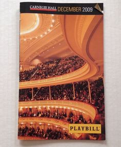 Playbill Carnegie Hall December 2009 St Cecilia Chorus Orchestra Hye Jung Lee