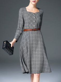Shop Midi Dresses - Gray A-line Checkered/Plaid 3/4 Sleeve Midi Dress online. Discover unique designers fashion at StyleWe.com.