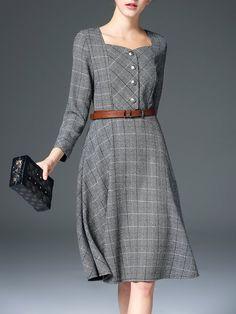 Shop Midi Dresses - Gray A-line Checkered/Plaid 3/4 Sleeve Midi Dress online. Discover unique designers fashion at StyleWe.com.