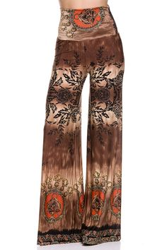 Border Printed High Waist Palazzo Pants with unfinished Hem.