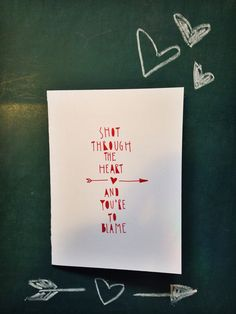Funny valentines day card hand lettered Bon Jovi quote by TheHipsterHousewife, $4.50