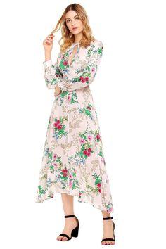 c9ecdaf8e38e2 Maternity Outfits - casual maternity dresses : Zeagoo Women Sexy Keyhole  Neckline Maxi Dress Flower Print