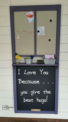 Make a great chalkboard memo board out of an old wooden storm door. Perfect for a busy family.   Oh my gosh. I love this.  Home Depot has these doors for $22  SCORE!