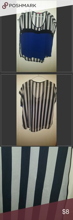 Cute sheer and cobalt blue top 2x top with bright blue front and striped pattern. Lightweight and great dressed up with black pants or casually paired with jeans. Small pick on back shown in third picture. Tops Blouses