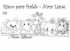 Embroidery Stitches Tutorial, Embroidery Patterns, Hand Embroidery, Tole Painting, Fabric Painting, Animal Outline, Blue Nose Friends, Arte Country, Digi Stamps