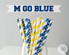 M GO BLUE // University of Michigan Paper Straws  // Graduation Party // Maize & Blue //University of Michigan // West Virginia // Marquette