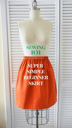Beginner Skirt Sewing Tutorial - Learn how to sew your own skirt from scratch with any pretty fabric design! No pattern needed with this free DIY.