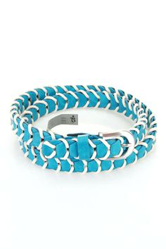 Belgo Lux Braided Belt In Turquoise