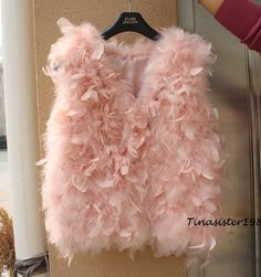 Lady Women Girl New Cute Real Ostrich Feathers waistcoats Fur Vest Gilets | eBay