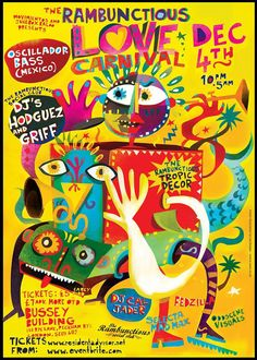 Carnival Posters, Busse, Graphic Design Posters, Night Life, Street Art, Tropical, December 4th, Drawings, Illustration