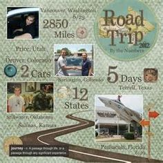 Road Trip 2012. #papercraft #scrapbook #layout #travel road trip stats ...