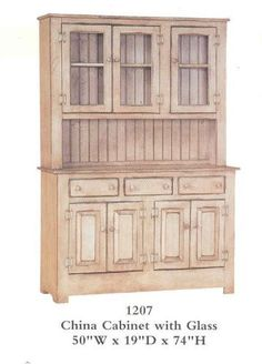 China Cabinet with Glass - Primitive Antique White