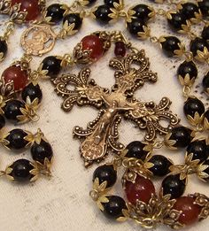 Rosary ~ 8mm Black Onyx ~ Sacred Heart of Jesus ~ Antique Bronze Design