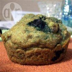 Foto recept: Volkoren bosbessen-banaan muffins zonder suiker